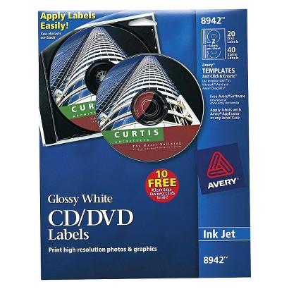Avery® Inkjet CD/DVD Labels - Glossy White (20 Per Pack)