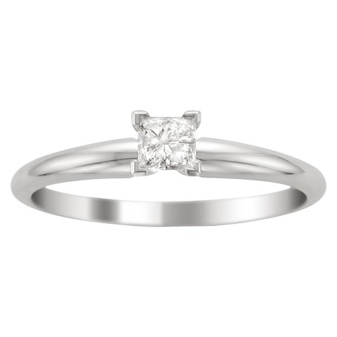 1/3 CT.T.W Princess-cut Diamond Solitaire Prong Set Ring in 14K White Gold (I0J, I1)
