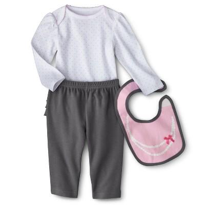 Circo® Newborn Girls' 3 Piece Top and Bottom Set - Grey/Pink 3-6 M