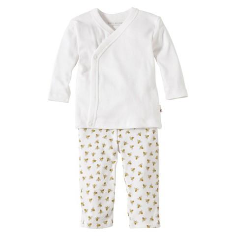 Burts Bees Baby™ Newborn Neutral 2 Piece Kimono Top and Bottom Set - Cloud