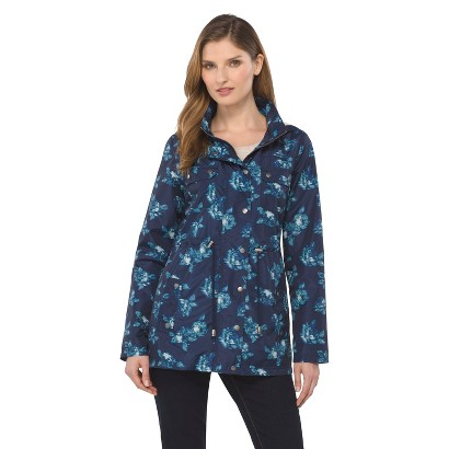 Women's Rain Anorak Jacket Floral Navy- Merona