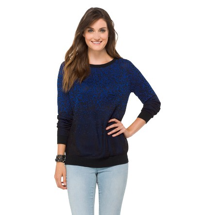 Jacquard Pullover Sweater Black/Athens Blue L - Mossimo