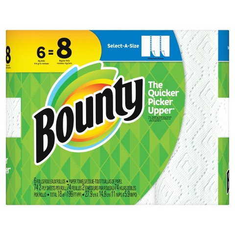 Bounty Select-A-Size White Paper Towels 6 Big Rolls