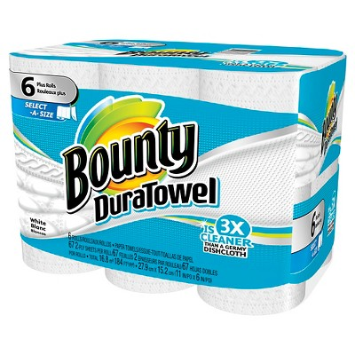 Bounty DuraTowel Select-A-Size Paper Towels 6 Plus Rolls