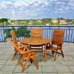 Edgewater 5-Piece Teak Round Patio Dining Furniture Set