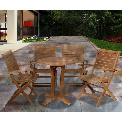 Monroe 5 Piece Teak Patio Bistro Furniture Set Tar