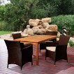 Cooper 5-Piece Teak/Wicker Rectangular Patio Dining Furniture Set