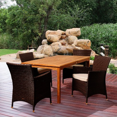 Cooper 5-Piece Teak/Wicker Rectangular Patio Dining Furniture Set