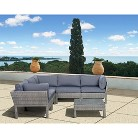 South Beach 6-Piece Wicker Patio Sectional Seating Furniture Set