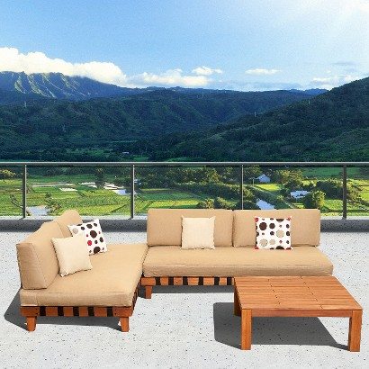 Mumbai 3-Piece Wood Patio Sectional Seating Furniture Set With Inflatable Cushions