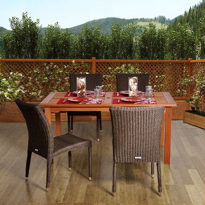 Stillwater 5-Piece Wood/Wicker Rectangular Patio Dining Furniture Set