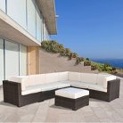 Atlantic Furniture Clearwater 7-Piece Wicker Patio Sectional Seating Furniture Set - White