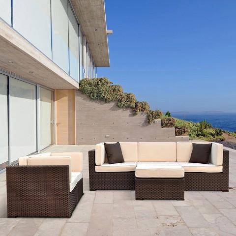 Atlantic Furniture Daytona 6-Piece Wicker Patio Sectional Seating Furniture Set