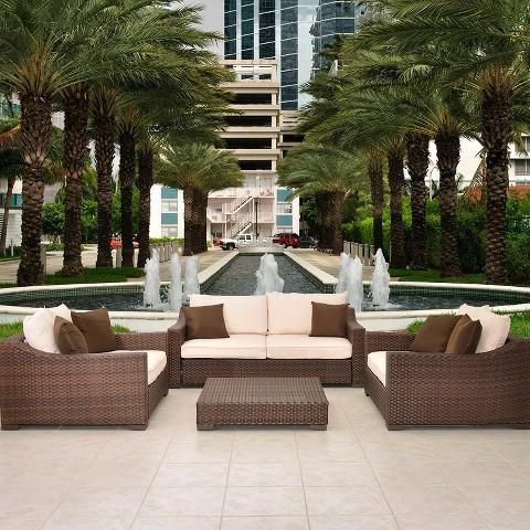 Atlantic Furniture New Orleans 4-Piece Wicker Patio Conversation Furniture Set