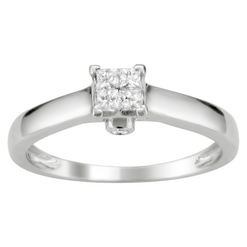 1/4 CT. T.W. Princess Cut Diamond Composite Set Ring in 14K White Gold (H-I, I1)
