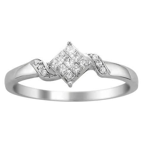 1/4 CT. T.W. Princess-Cut Diamond Composite Set Promise Ring in 14K White Gold (H-I, I2)