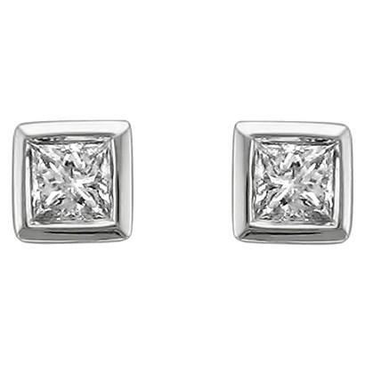 1/4 CT. T.W. Princess-Cut Diamond Stud Bezel Set Earrings in 14K White Gold (H-I, SI2-I1)