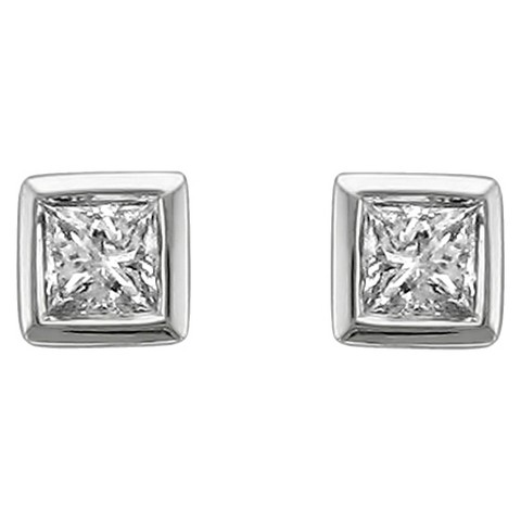 1/4 CT. T.W. Princess-Cut Diamond Stud Bezel Set Earrings in 14K White Gold (H-I, SI2-I1)