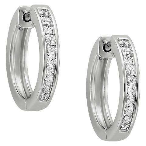 1/2 CT. T.W. Princess Cut Diamond Hoop Channel Set Earrings in 14K White Gold (H-I, I1-I2)