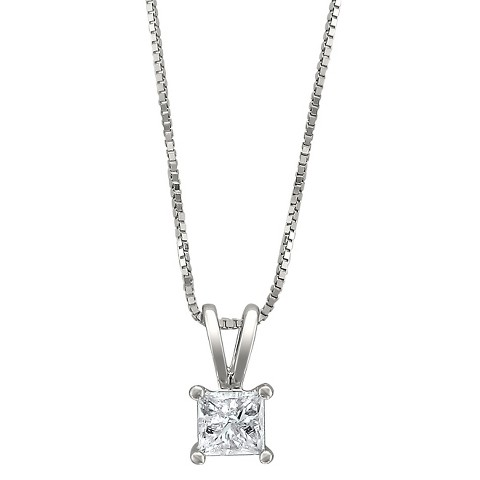 1/4 CT. T.W. Princess Cut Diamond Solitaire Prong Set Pendant in 14K White Gold (H-I, I1-I2)