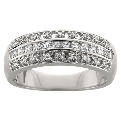 3/8 CT. T.W. Princess and Round Cut Diamond Band Channel and Prong Set Ring in 14K White Gold