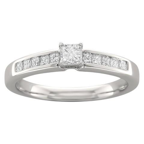 1/2 CT. T.W. Princess-Cut Diamond Prong Set Ring in 14K White Gold (H-I, I2-I3)