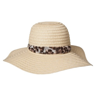 Floppy Hat with Leopard Sash - Cream