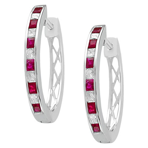3/4 CT. T.W. Princess Cut Diamond and Ruby Channel Set Hoop in 14K White Gold (H-I, SI2)