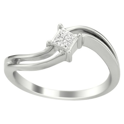 1/10 CT. T.W. Princess Cut Diamond Composite set Promise Ring in 14K White Gold (H-I, I2)