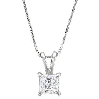 1/2 CT. T.W. Princess Cut Diamond Solitaire Prong Set Pendant in 14K White Gold (H-I, I1-I2)