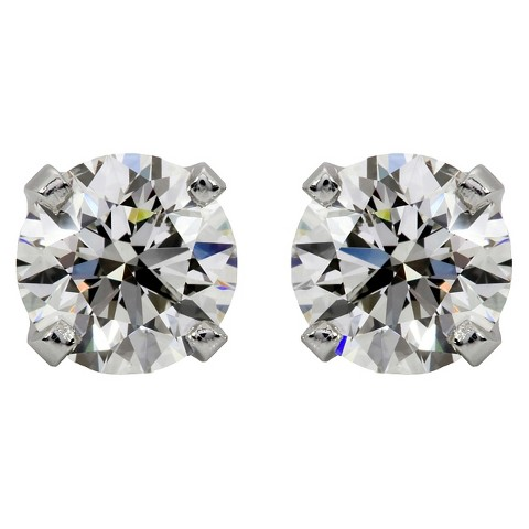 1 CT. T.W. Round Cut Diamond Certified Prong Set Stud Earrings in 14K White Gold (I-J, I2-I3)