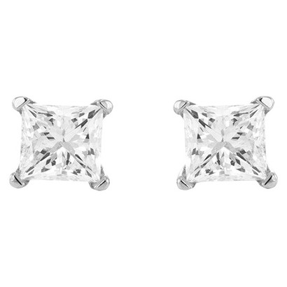 1/5 CT. T.W. Princess Cut Diamond Solitaire Prong Set Stud Earrings in 14K White Gold (H-I, I2-I3)