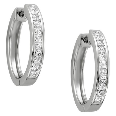 1 CT. T.W. Princess Cut Diamond Channel Set Hoop in 14K White Gold (H-I, I1-I2)