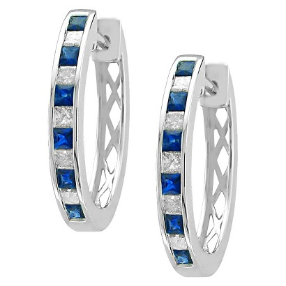 1/2 CT. T.W. Princess Cut Diamond and Sapphire Channel Set Hoop in 14K White Gold (H-I, SI2)
