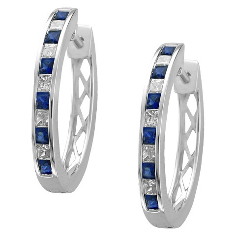 3/4 CT. T.W. Princess Cut Diamond and Sapphire Channel Set Hoop in 14K White Gold (H-I, SI2)