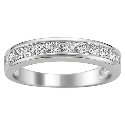 1 CT. T.W. Princess Cut Diamond Band Channel Set Ring in 14K White Gold (I-J, I2-I3)
