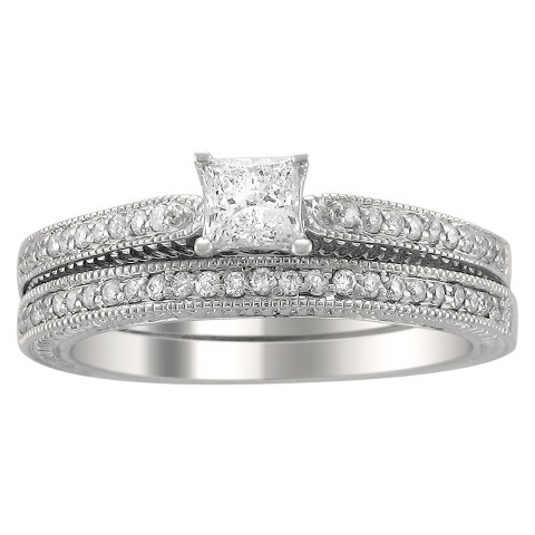 5/8 CT. T.W. Princess and Round Cut Diamond Bridal Prong Set Ring in 14K White Gold (H-I, SI2)