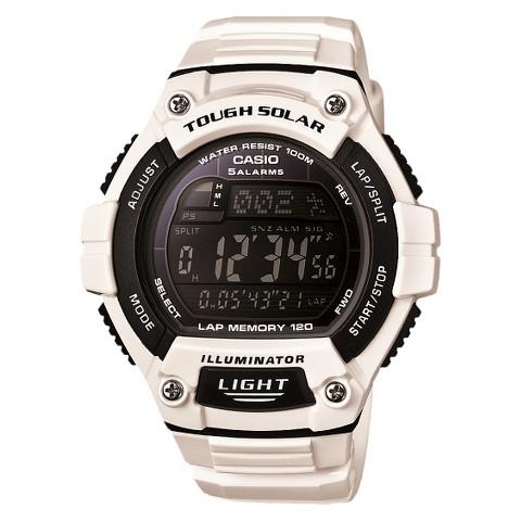 Casio  Solar Multi-Function 120-Lap Runner Watch - Glossy White