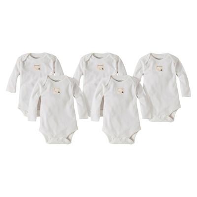 Burts Bees Baby™ Newborn Neutral 5 Pack Long-sleeve Bodysuit - Cloud 24 M
