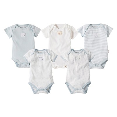 Burts Bees Baby™ Newborn Boys' 5 Pack Short-sleeve Bodysuit - Sky Blue 12 M