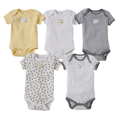 Burts Bees Baby™ Newborn Neutral 5 Pack Short-sleeve Bodysuit - Yellow/Grey 18 M