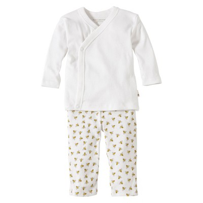 Burts Bees Baby™ Newborn Neutral 2 Piece Kimono Top and Bottom Set - Cloud 3-6 M