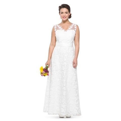 Women's Lace V-Neck Wedding Dress - TEVOLIO&#153