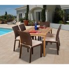 Osceola 7-Piece Outdoor Teak Table and Wicker Chairs Patio Dining Set