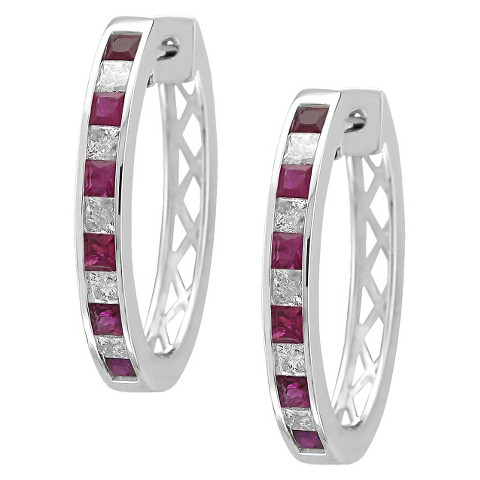 4/5 CT. T.W. Princess Cut Diamond and Ruby Channel Set Hoop in 14K White Gold (H-I, SI2)