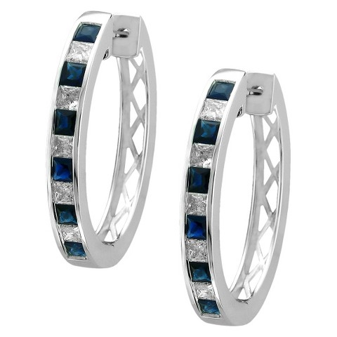 4/5 CT. T.W. Princess cut Diamond and Sapphire Channel Set Hoop in 14K White Gold (H-I, SI2)