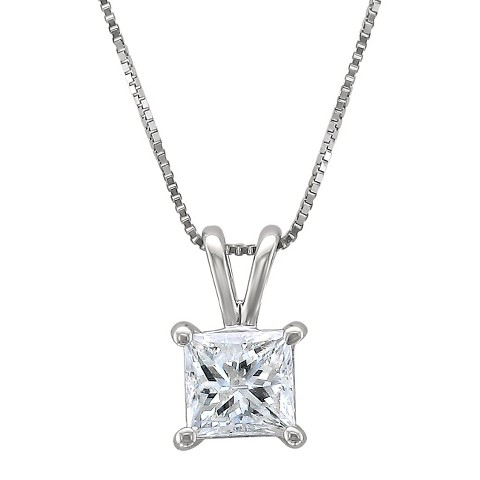1 CT. T.W. Princess Cut Diamond Solitaire Prong Set Pendant in 14K White Gold (H-I, I1-I2)