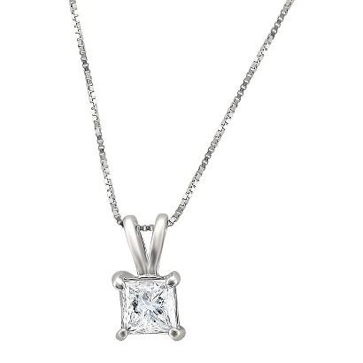 3/4 CT. T.W. Princess Cut Diamond Solitaire Prong Set Pendant in 14K White Gold (H-I, I1-I2)