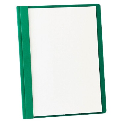 "Oxford® Clear Front Report Cover with 3 Fasteners, Letter, 1/2"" Capacity - Green (25 Per Box)"