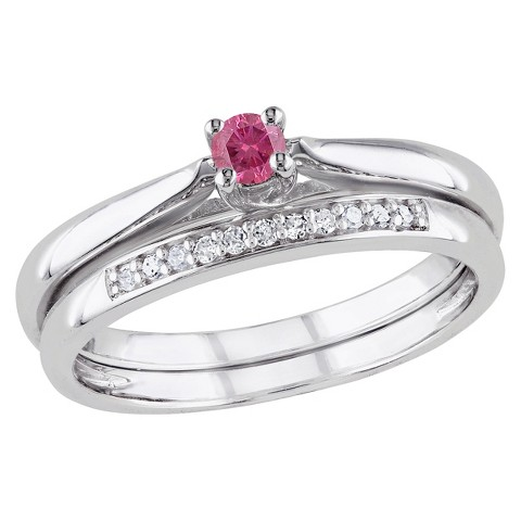 Tevolio 0.25 CT.T.W. Round Pink Diamond and White Diamond Prong Weeding Ring in Set (GH I2:I3)